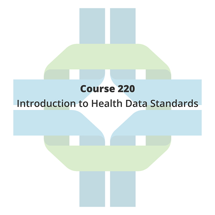 """The Openhie blue and green ribbon is in the background with """"Course 220 Introduction to health data standards"""" is written overtop."""
