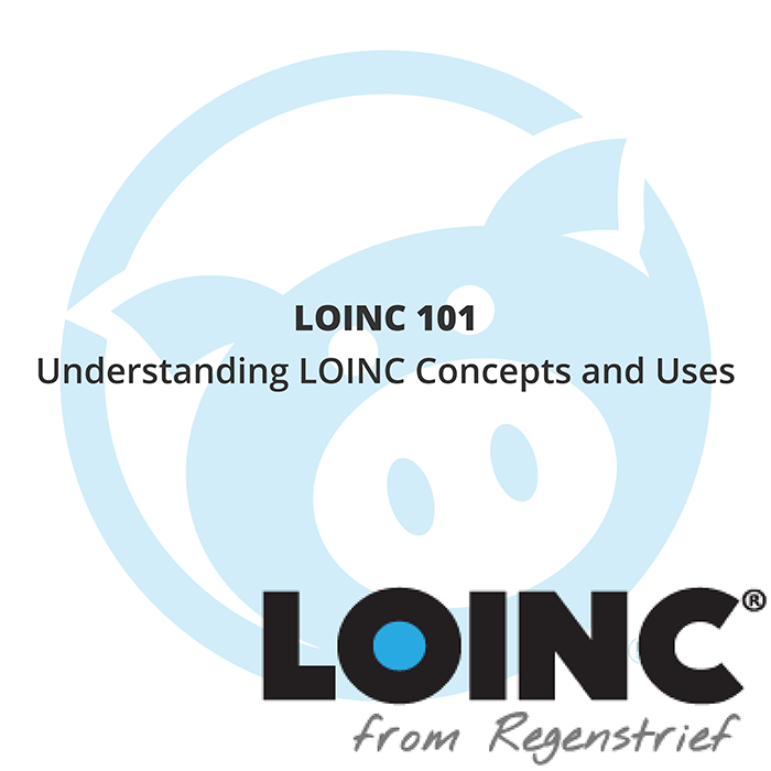 """Loinc Logo and mascot pig with text that reads """"LOINC 101 - Understanding LOINC Concepts and Uses"""""""